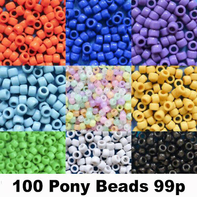 Pony Beads 6mm x 8mm All Colours Hair Braids Dummy Clips 100 pack