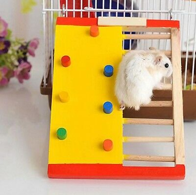 Wooden Hamster Ladder Climbing Cage Exercise Playground Toy Mouse Bridge Rat UK
