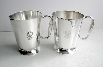 Pair of Silver 1 Pint Mugs - Simpsons in the Strand - James Dixon & Sons
