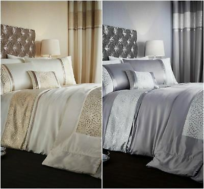 Catherine Lansfield Luxor Jacquard Full Room Set Duvet Cover Bedspread Curtains