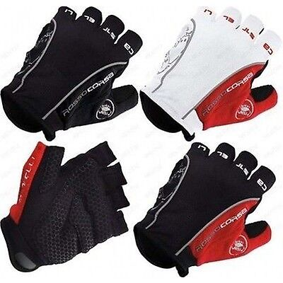 Castelli Rosso Corsa Classic HALF FINGER Bike Gloves Cycling Bicycle gel gloves