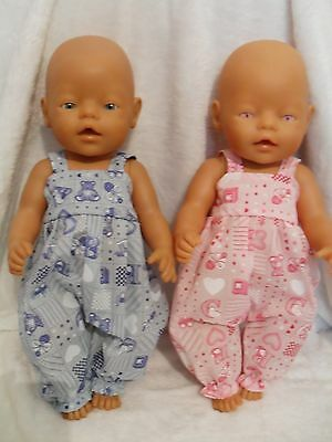 "17"" Dungarees Boy Girl Dolls Clothes Handmade Fit Baby Born 43Cm Or Similar"