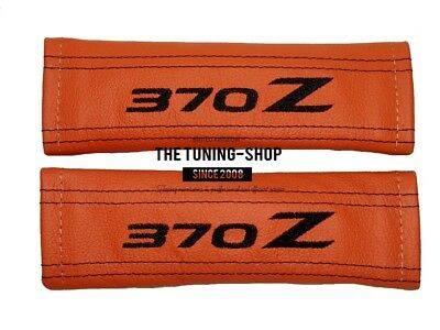 """2x Seat Belt Covers Pads Orange Leather """"370Z"""" Black Embroidery for Nissan"""