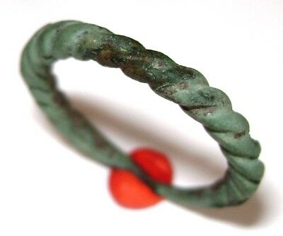 Ancient Pseudo-twisted Viking bronze cast ring.