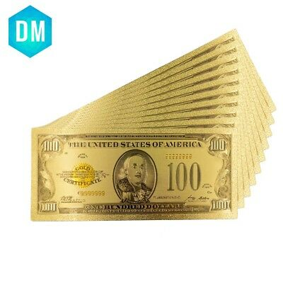 1928 Year 24k Gold Banknotes Gold Plated USA 100 Dollars Collections Currency