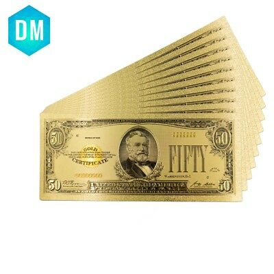 Gold Banknote 1928 Year America 50 Dollars Gold Plated Banknote for Souvenirs