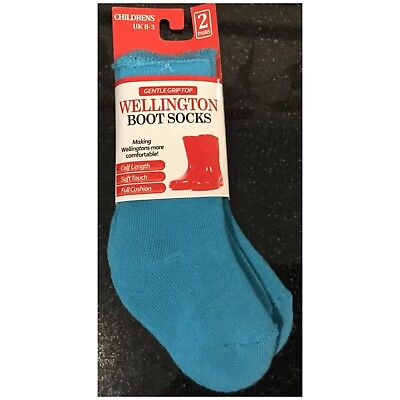 2 Pairs Blue Children's Toddlers Warm Wellington Wellie Boot Socks