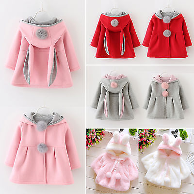 Kids Toddler Girls Coat Rabbit Ear Hooded Cape Outwear Hoodie Jacket Clothes