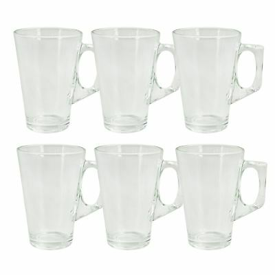 6 X 240ml Coffee Tall Clear Glass Cafe Latte Cappuccino Tea Hot Drink Mug Cup