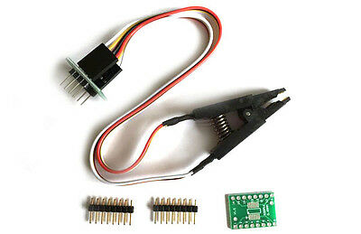 1x SOIC8 SOP8 Flash Chip IC Test Clips Socket Adpter BIOS/24/25/93 Programmer