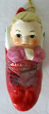MINT Goebel Charlot Byj Christmas Ornament 1986 Baby Hanging in Stocking Germany