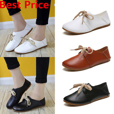 Women Girls Lace Up Slip On Peas Shoes Loafers Lady Soft Flats Oxford Shoes Size