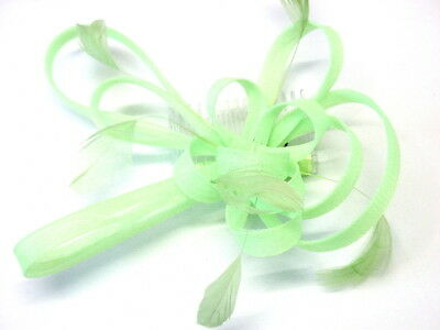 Beautiful Large Coiled Net And Feather Fascinator On Comb Lovely Colours Green