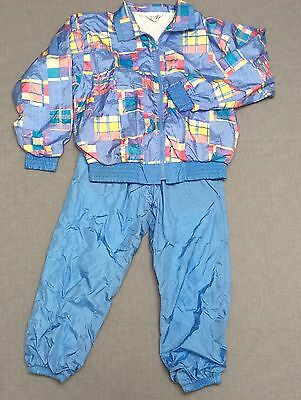 Vtg 80s Blue Plaid Nylon Warm Up Track Suit Windbreaker Jacket Pants XS London