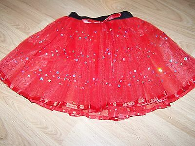 Child Size 4-6 Homemade Red Silver Sequins Tulle Tutu Skirt Dance Costume New