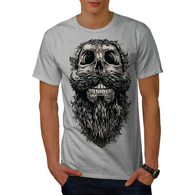 Wellcoda Beard Hipster Cool Skull Mens T-shirt, 0 Graphic Design Printed Tee