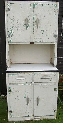 VINTAGE METAL/ALUMINIUM RETRO KITCHEN CABINET 'CC' MARKED POS 1940s