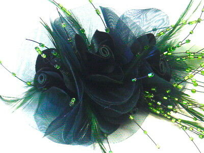 Gorgeous Triple Rose Fascinator With Feathers And Glass Beads In Lovely Green