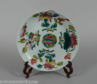 Antique Chinese Porcelain Plate Polychrome Enamels Flowers Guangxu or Republic
