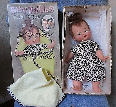 Vintage Baby Pebbles Flintstone Ideal Doll w/Blanket in Original Box
