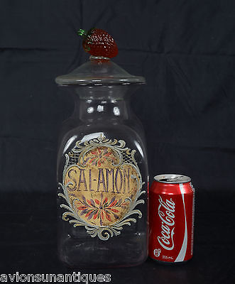 Antique Square Shaped Blown & Molded SAL-AMON Apothecary Jar Enamel Bottle