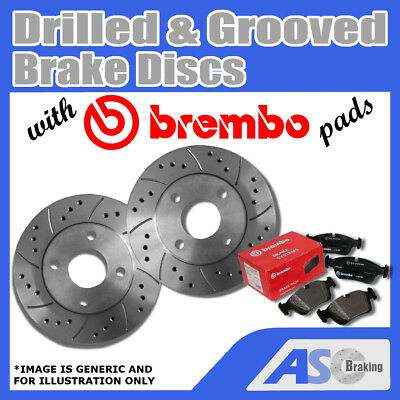 Brembo Max Front Vented High Carbon Grooved Brake Disc Pair Discs x2 09.9145.75