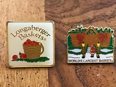 LONGABERGER BASKETS Collectible Lot of 2 PINS - Tack Lapel Hat Pinbacks