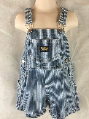 BOYS OSHKOSH B'gosh VESTBAK Railroad Striped Blue Overalls Size 18M