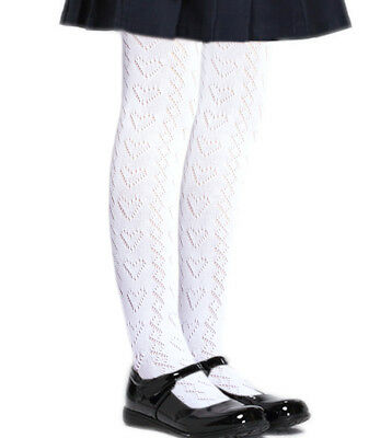 85477d5014dc6 Girls Pointelle white school tights without bulky toe seams heart pattern  cotton