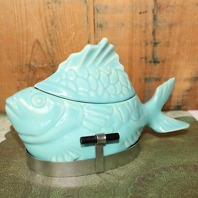 Vintage Bauer Chicken of the Sea Tuna Salad Baker Dish Bowl Stand Aqua Turquoise