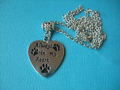 Dog Memorial Necklace & Pendant Metal Chain Paw Prints Always In My Heart