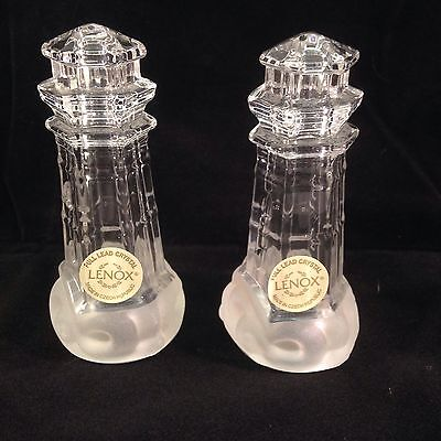 New Lenox Crystal Lighthouse Salt And Pepper Shakers