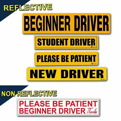 Zone Tech Student New Beginner Driver Please Be Patient Car Magnet Reflective