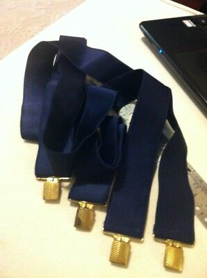 Vintage Navy Blue Suspenders W/ Brass Clips