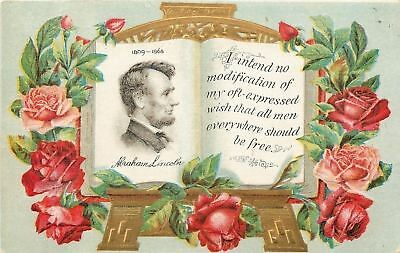Abraham Lincoln~Profile on Book~Quote~All Men Free~Roses~Gold Emboss Art Nouveau