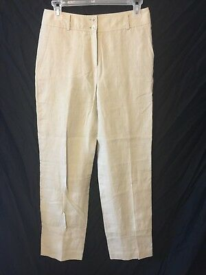 BROOKS BROTHERS Women's Irish Linen Pants Size 4 Beige Lined