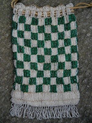 Antique Green & White Checkered Seed Beaded Art Deco Flapper Bag Purse