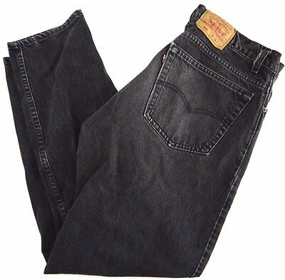 VINTAGE LEVIS 550 mens black jeans 37x31 tapered leg high waist MADE IN USA fade