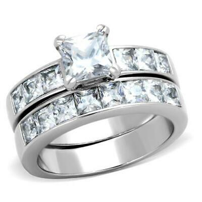 3.75 Ct Princess Cut AAA CZ Stainless Steel Wedding Ring Set Women's Size 5-11
