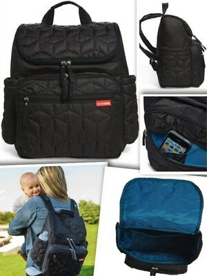 "SKIP HOP Forma Quilted Backpack Diaper Bag Black Multiple pockets 13""Wx14""Hx8""D"