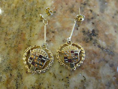Vintage Cadillac Crest and wreath Earrings