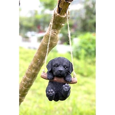 Black Labrador Retriever Puppy Dog Hanging Life Like Figurine Home Garden Decor