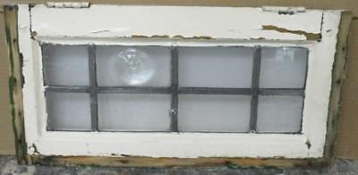 """OLD ENGLISH LEADED STAINED GLASS WINDOW Clear w/ Bullseye 21"""" x 10.5"""""""