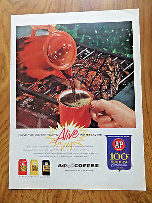 1959 A & P Coffee Ad Outdoor Barbecue Cookout Steak Theme
