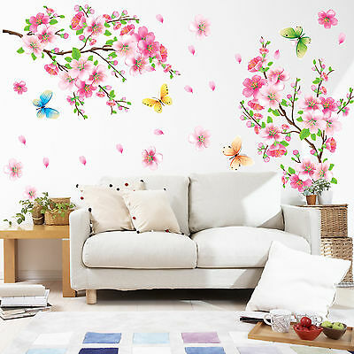 US Removable Blossom Flower Butterfly Vinyl Art Decal Wall Home Sticker Decor
