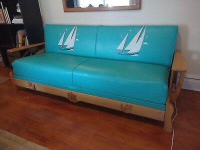Mid-Century Wagon Wheel Vintage Nautical Furniture Sofa Couch 1950s 60s Vinyl