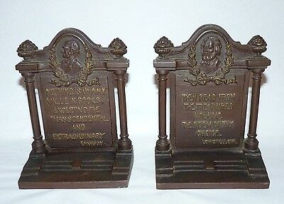 Vintage Bradley & Hubbard Bookends, Longfellow, Emerson, Great Patina, Heavy.
