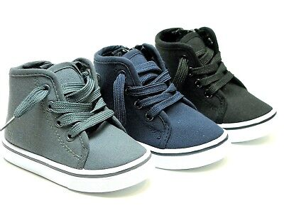 New Baby Toddler Boys Girls Canvas High Top Lace Up Shoes Inside Zipper Sz 4-9
