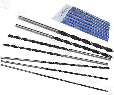 7 x Woodworking Drill Bit Set 300mm Extra Long 4 5 6 7 8 10&12mm With Bag