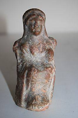 ANCIENT GREEK POTTERY FIGURE of a SEATED GODDESS 6th CENTURY BC